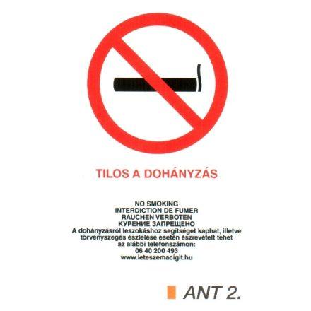 Dohányozni tilos matrica, 4 nyelvű, ANTSZ és Korm. rendelet alapján ant2