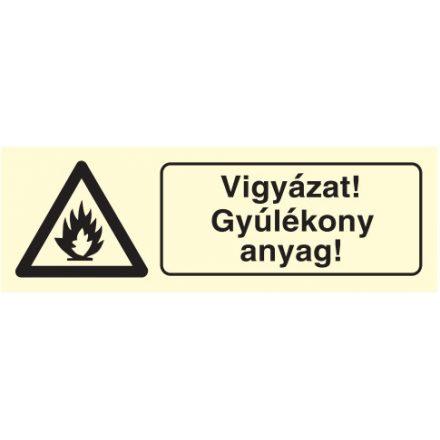 Vigyáz! Gyúlékony anyag!, után világítós figyelmeztető öntapadós tábla