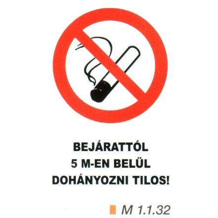 Bejárattól 5 m-en belül dohányozni tilos m 1.1.32