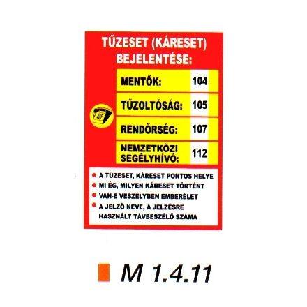 Tűzeset bejelentése m 1.4.11