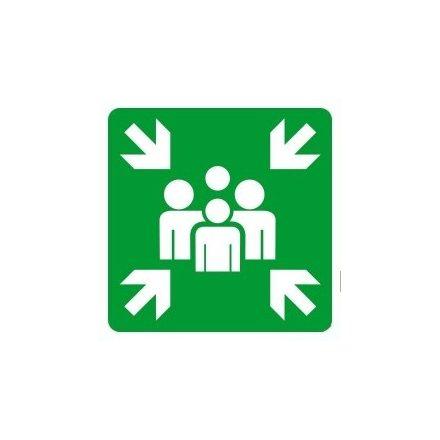 Gyülekezőhelyet jelölő után világítós menekülési útvonalat jelző öntapadós tábla