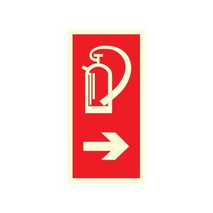 Tűzoltó készülék helyét jelölő, után világítós tűzvédelmi öntapadós tábla
