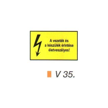 A vezeték és a készülék érintése életveszélyes! v 35